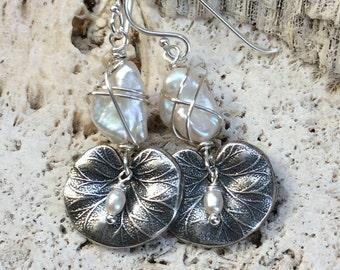 Hand Made Earrings,Pearl Earrings,Sterling Silver Earrings,Wire Wrapped Earrings,Water Lily Earrings,Freshwater Pearl Earrings