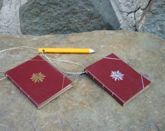 Personalized Leather Book Ornament, Red Leather Book Ornament with mini pencil