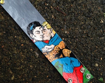 Aquaman and Superman in love - romantic hand-painted gay themed comic book cuff