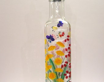 Hand Painted Glass Pour Bottle, Soap, Oil, Vinegar Bottle, Purple Red Yellow Orange Blue Wildflowers with Bumblebees Ladybugs Butterflies