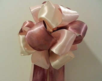 Lt pink, Ivory and Marsala/Mauve satin Wedding/ Pew Bows/ aisle decorations set of 10