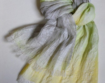 Washed linen scarf, striped gauzy linen shawl, sheer ombre pastel colors yellow green gray extra long unisex summer scarf
