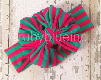 Mistletoe and Holly Messy Bow Head Wrap