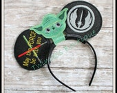 Jedi Yoda Mouse Ears Headband by Twincess Bowtique - CUSTOM