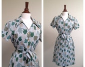 vintage green LEAVES collared shift dress