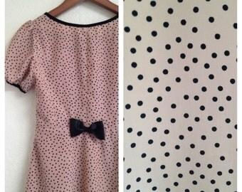Vintage pink dot babydoll dress sz xs