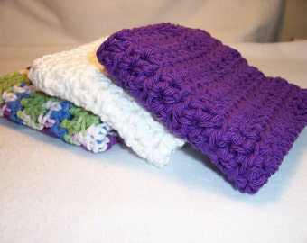 "Handmade Crocheted Dish/Wash Cloths - Kitchen Dishcloths - 100% Cotton 8.5"" x 8.5"""