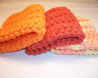 "Set of 3 Handmade Crocheted Dish Cloths -Cotton Cloths - Baby Wash Cloths - 100% Cotton - 7"" x 7"""