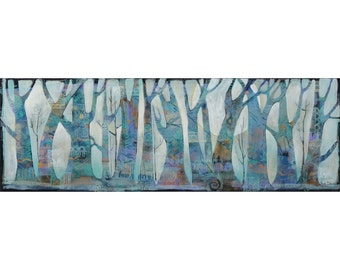 Painting on Canvas, Original Art , nature theme, trees, 24 x 8 inches,home decor