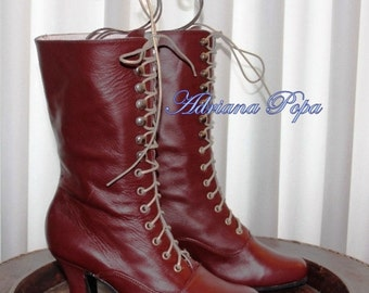 Burgundy leather Victorian High Heel Lace up Boots Reddish brown Leather Ankle boots Order your customized size