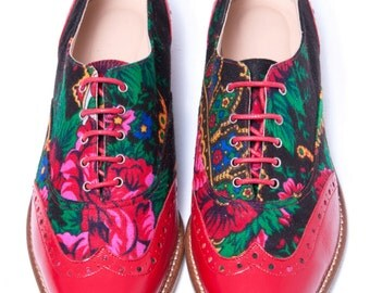 Lady Oxford shoes Red leather and Platok Russian flower print Lady Oxford Customized shoes