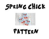 Brick Stitch Spring Chick PATTERN, Seed Bead Charm / Pendant, Miyuki Delica Seed Beads