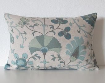 Timur Seafoam linen beige teal green suzani decorative pillow cover