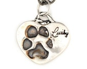 Sterling Silver Dog Paw Imprint Pendant from Actual Dog--Gift for Pet Lovers--Memorial Necklace