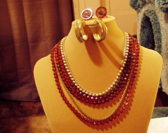 Vintage 1950s 1960s 6 Strand Necklace With 3 Pairs Earrings Faux Amber Beads Gold Tone 7731