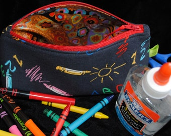 Crayon & pencil pouch-toy pouch-art and craft supplies bag-preschool-ABC-makeup bag-cosmetic bag-toiletries bag-wash bag-dopp kit