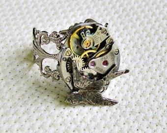 Hammered Bird Steampunk Silver Ring EXCLUSIVE DESIGN