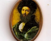 Balthasar Castiglionne by Rafael - Oval shape gold colored metal frame print Dollhouse Miniature Artwork