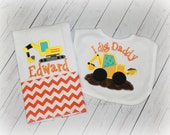 New Baby Gift Set Construction Backhoe Burp Cloths, Bodysuits and/or Bibs Mix and Match Choose Any Theme for Fabrics Free Personalization