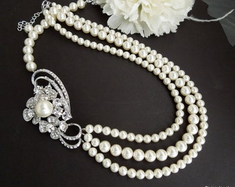 Pearl necklace, Bridal Pearl Necklace,  Bridal Rhinestone Pearl Necklace, Statement Bridal Necklace, Wedding Pearl Necklace, GISELLE