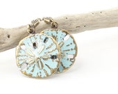 Small Sand Dollar Earrings Blue Beach Wedding Jewelry Turquoise Jewelry for Women Hand Painted Beach Jewelry Sand Dollar Jewelry Nautical