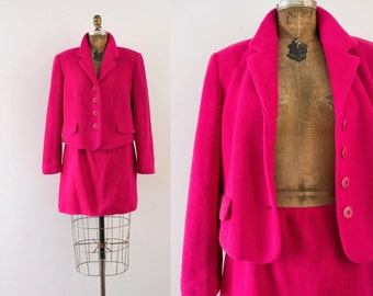 1990s Luminescent Camilia unique suit set / 90s vibrant pink