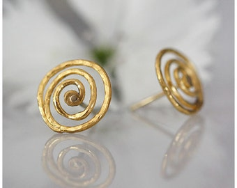18K gold SPIRAL STUD EARRINGS hand forged & designed