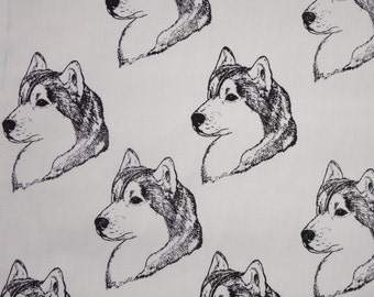 Siberian Husky Dog Fabric Hot Diggity Dog Fabric / Novelty Fabric 1 yd