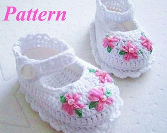 Crochet Pattern - Pink Flower White Cotton Baby Booties PDF Pattern - BT12112014-03 - Instant Download