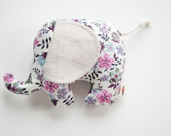 Baby Toy ~ Liberty of London ~ Baby Shower Gift ~ Small Elephant ~ Nursery Decoration ~ Cushion ~ Purple Floral
