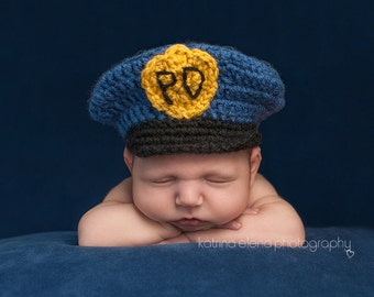 Baby Policeman Hat/ Baby Police Officer Hat/ Newborn Policeman Hat/ Crochet Hat/ Baby Boy Hat/ Baby Girl Hat/ Serviceman Hat