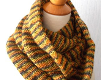 Infinity Scarf   Chunky Circle  Scarf  In Brown Orange Lime Green Long Warm SALE