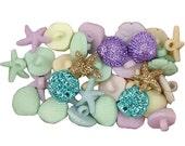 Tiny seashell buttons pastel seashells sea shells Jesse James Embellishments