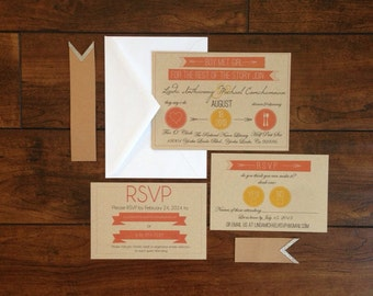 Bohemian Banner Kraft Paper Wedding Invitation Suite, Coral and Yellow Banner Wedding Invite, Rustic Kraft Paper RSVP Postcard