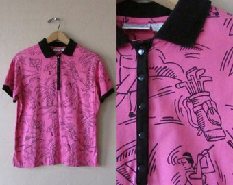 EVERYTHING 10 SALE preppy pink gold vintage 80s 1980s tail polo collar cotton short sleeve black trim palm tree shirt top - medium M large L