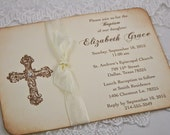 Baptism Invitations Christening Invitations First Communion Invite Ribbon Cross