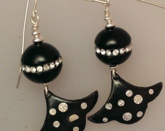 Earrings: Hand Enameled with Onyx and Crystal