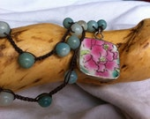 Porcelain Pendant Floral Pinks and Seafoam Green Amozonite Beaded NECKLACE Feminine Beautiful Piece Mother's Day Elegant Classic Jewelry