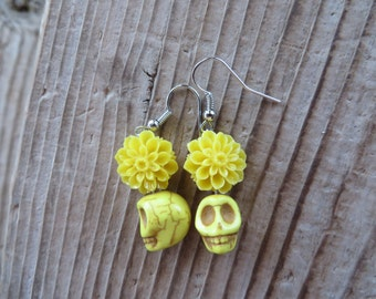 Pretty Yellow Acrylic Dahlia and Howlite Skull Earrings