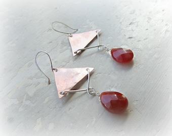 Copper Earrings, Chandelier Earrings, Mixed Metal Earrings, Southwestern Jewelry, Metalwork Jewelry, Geometric Earrings,Gemstone Earrings