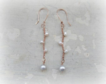 Rose Gold Branch Earrings, Wire Wrapped Earrings, White Pearl Earrings, Freshwater Pearls, Twig Earrings, Natural Pearls,Seed Pearl Earrings