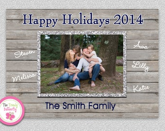 Rustic Photo Christmas Card , Rustic Wood Holiday Card , Printable Photo Holiday Card by The Trendy Butterfly