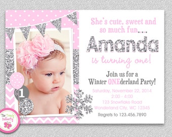 Winter Wonderland Birthday Invitation ,  Silver Pink Winter Wonderland Snowflake Birthday Invitation