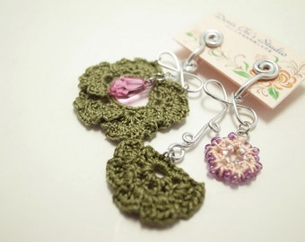 Crochet Lace Jewelry (Flower Field II-c) Fiber Jewelry, Clip Earrings,Crochet Earrings
