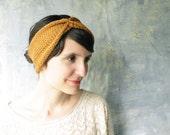 Knit Turban Headband - Knitted Headwrap - Honey Gold
