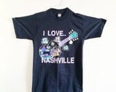 Vintage Men's I Love Nashville T Shirt- Small, Medium, Slim Fit, Music Shirt