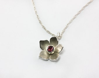 Elegant Periwinkle Pink-Red Garnet Flower Necklace - Sterling Silver - Birthday, Special Occasion, Bridesmaid present, Wedding, Customized