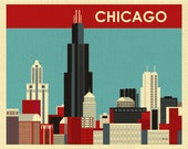 Chicago Skyline Art Print, Chicago Wall Art, Chicago Boyfriend Art Gift, Chicago Travel Poster, Chicago Wedding Artwork, style E8-O-CH12