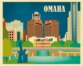 Omaha Skyline Print,  Nebraska Print, Omaha NE map, omaha Wall Art, omaha nursery, Omaha office wall art, Omaha Gift style - E8-O-OMA