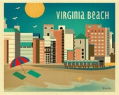 Virginia Beach Skyline Art Print, Horizontal, VA Wall Art, Virginia Travel Poster, Virginia Beach Gift, Loose Petals City Gift - E8-O-VA